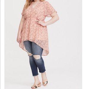 Torrid Lexie pink hi-lo babydoll tunic SZ 1